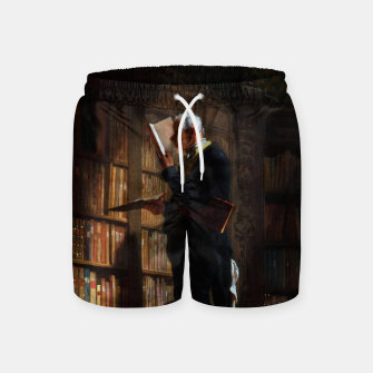 Thumbnail image of The Bookworm by Carl Spitzweg Classical Art Old Masters Reproduction Swim Shorts, Live Heroes