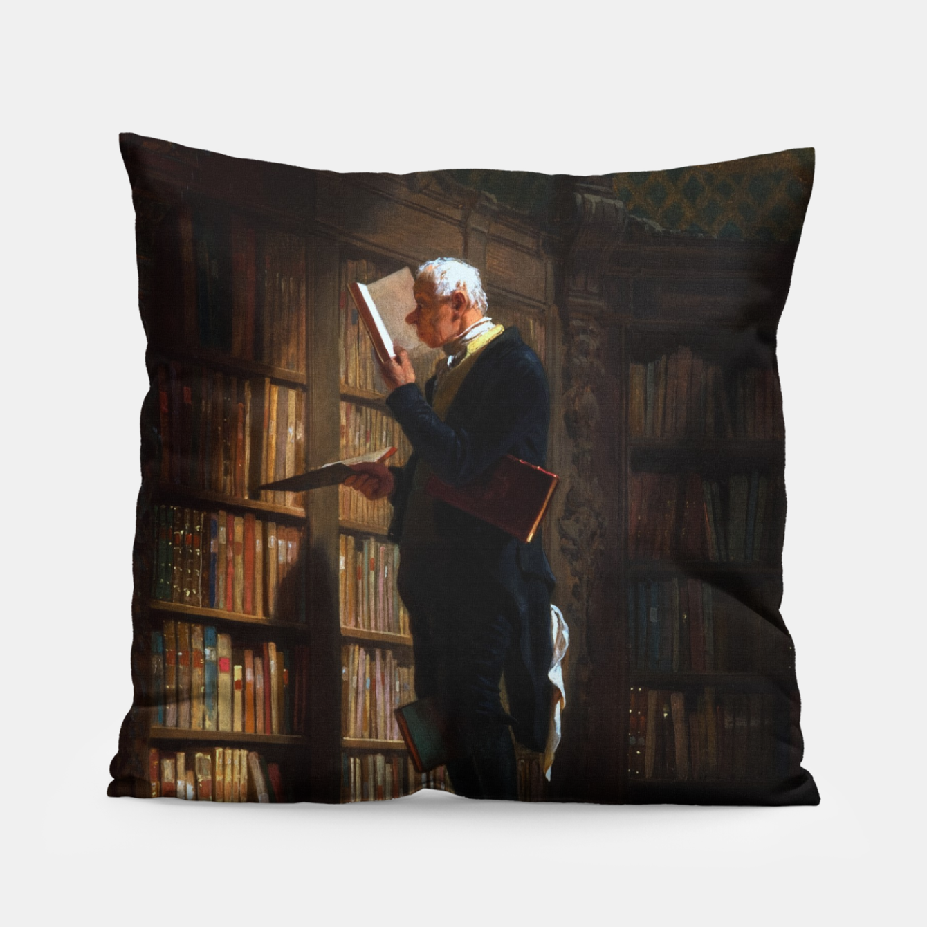 Image of The Bookworm by Carl Spitzweg Classical Art Old Masters Reproduction Pillow - Live Heroes