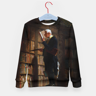 Thumbnail image of The Bookworm by Carl Spitzweg Classical Art Old Masters Reproduction Kid's sweater, Live Heroes