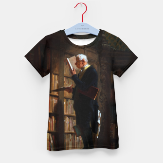 Thumbnail image of The Bookworm by Carl Spitzweg Classical Art Old Masters Reproduction Kid's t-shirt, Live Heroes