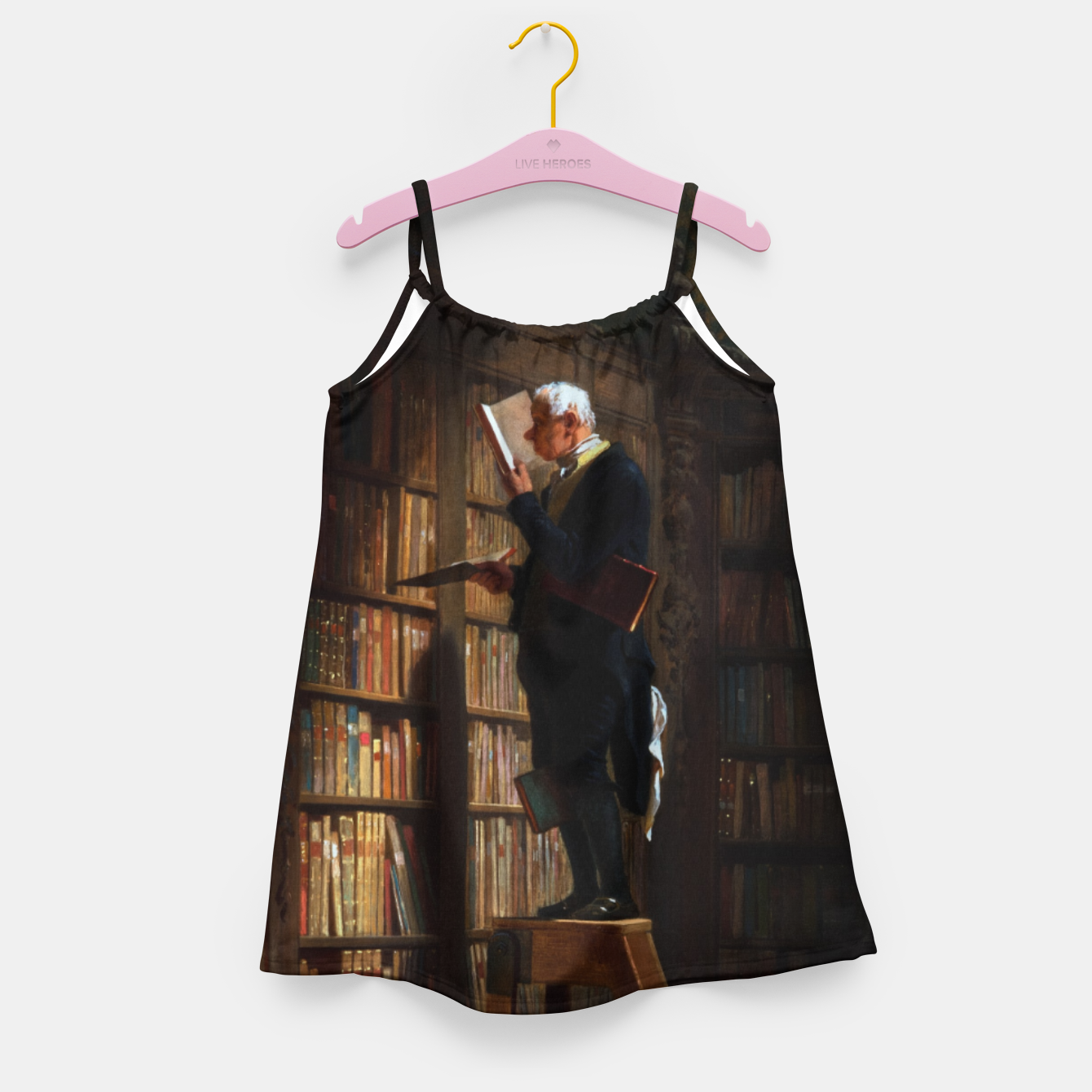 Image of The Bookworm by Carl Spitzweg Classical Art Old Masters Reproduction Girl's dress - Live Heroes