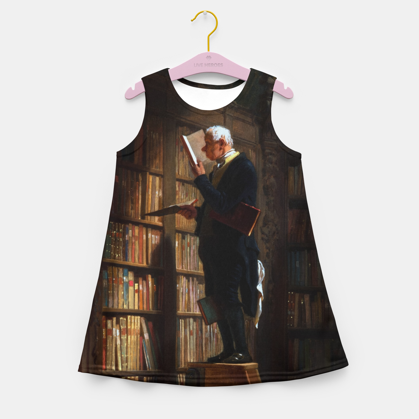 Image of The Bookworm by Carl Spitzweg Classical Art Old Masters Reproduction Girl's summer dress - Live Heroes