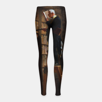 Miniaturka The Bookworm by Carl Spitzweg Classical Art Old Masters Reproduction Girl's leggings, Live Heroes