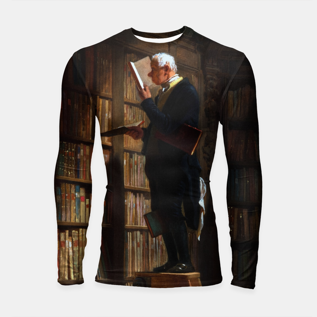 Image of The Bookworm by Carl Spitzweg Classical Art Old Masters Reproduction Longsleeve rashguard  - Live Heroes