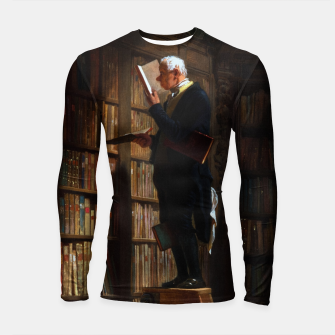 Thumbnail image of The Bookworm by Carl Spitzweg Classical Art Old Masters Reproduction Longsleeve rashguard , Live Heroes