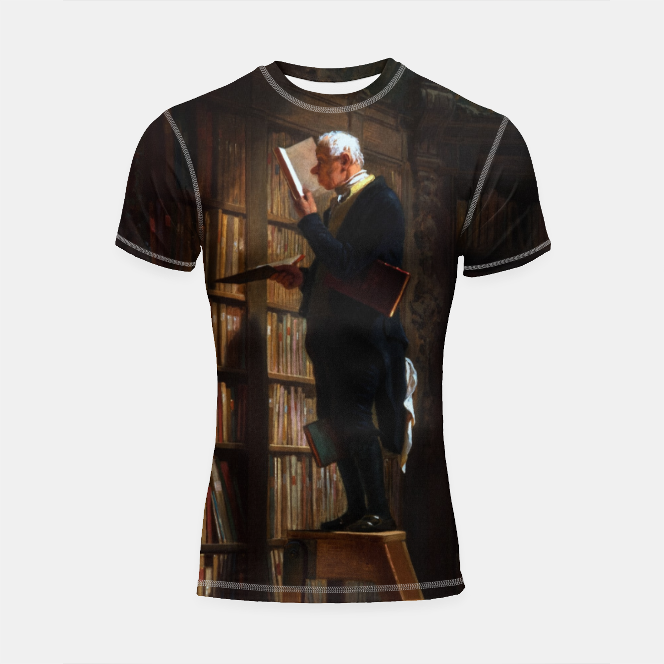Image of The Bookworm by Carl Spitzweg Classical Art Old Masters Reproduction Shortsleeve rashguard - Live Heroes