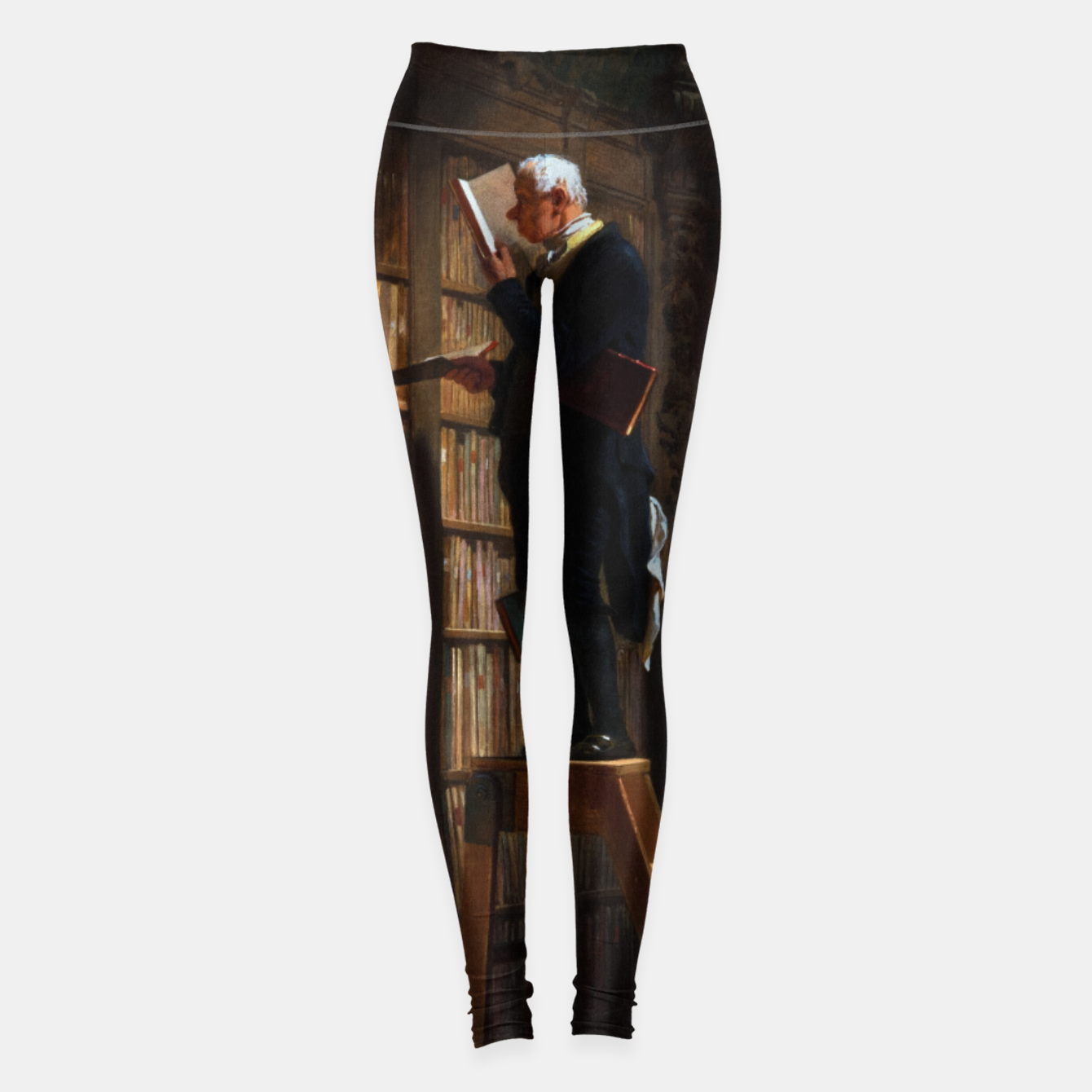 Image of The Bookworm by Carl Spitzweg Classical Art Old Masters Reproduction Leggings - Live Heroes