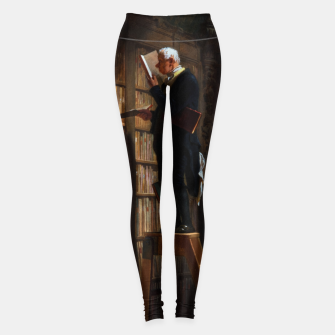 Thumbnail image of The Bookworm by Carl Spitzweg Classical Art Old Masters Reproduction Leggings, Live Heroes