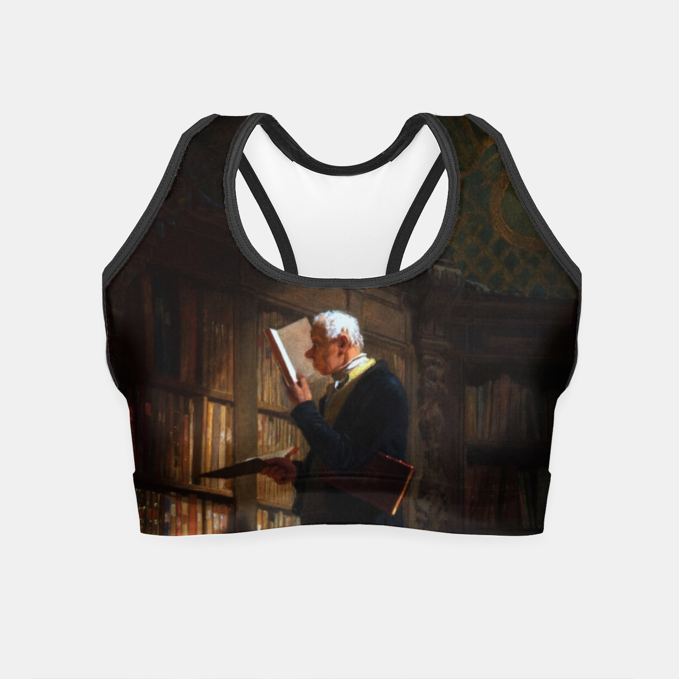 Image of The Bookworm by Carl Spitzweg Classical Art Old Masters Reproduction Crop Top - Live Heroes