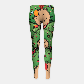 Thumbnail image of Hedgehogs Christmas Tree Girl's leggings, Live Heroes