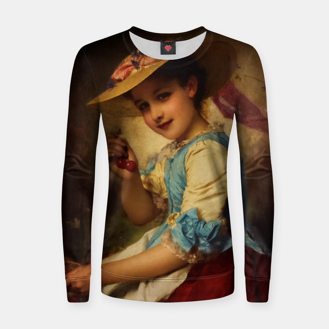 Image of The Cherry Girl by Adolphe Piot Classical Art Reproduction Women sweater - Live Heroes