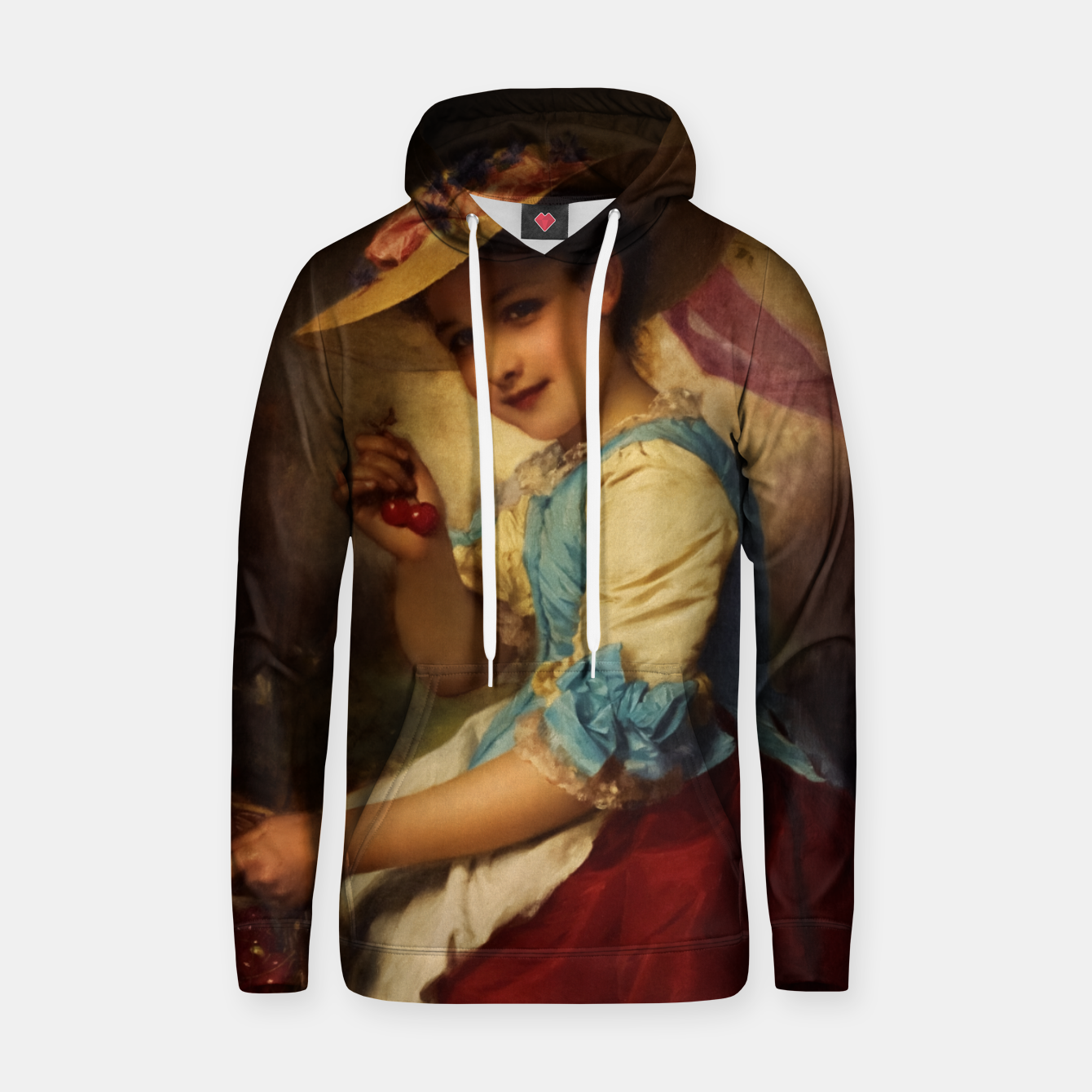 Image of The Cherry Girl by Adolphe Piot Classical Art Reproduction Hoodie - Live Heroes