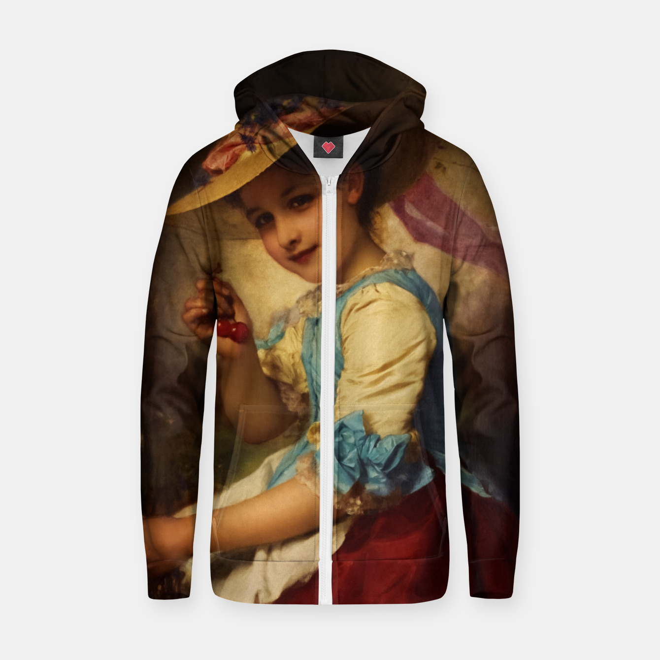 Image of The Cherry Girl by Adolphe Piot Classical Art Reproduction Zip up hoodie - Live Heroes