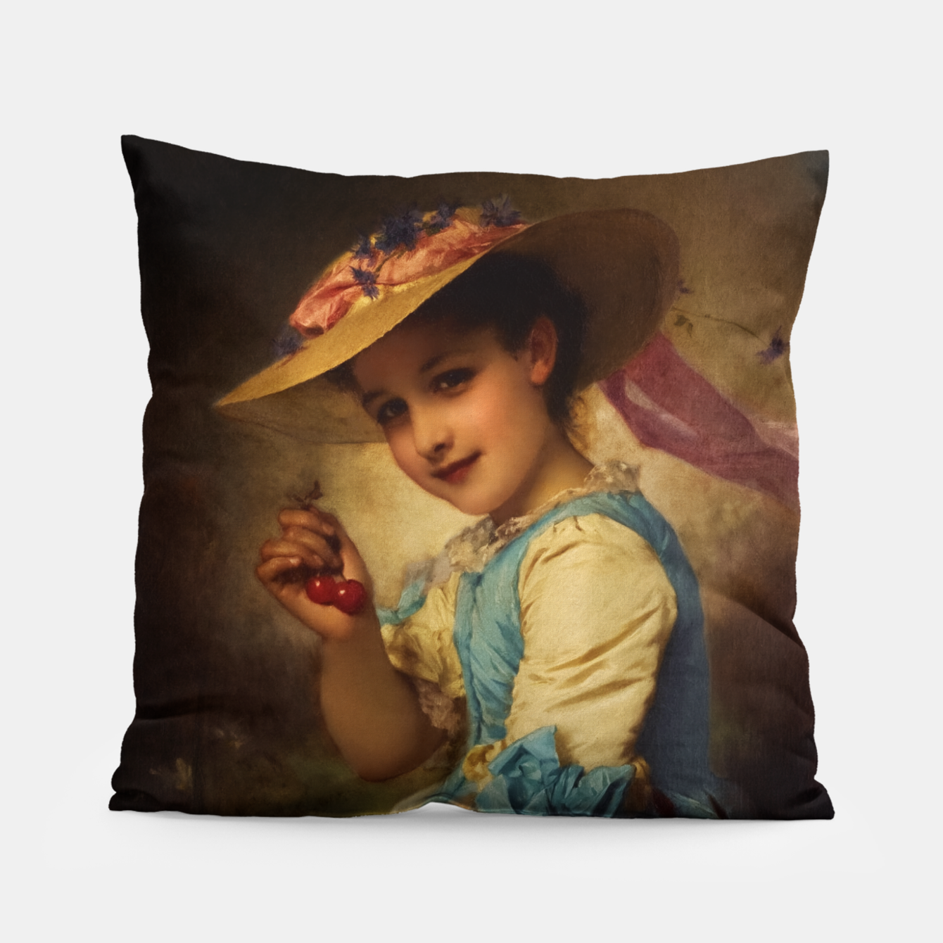 Image of The Cherry Girl by Adolphe Piot Classical Art Reproduction Pillow - Live Heroes