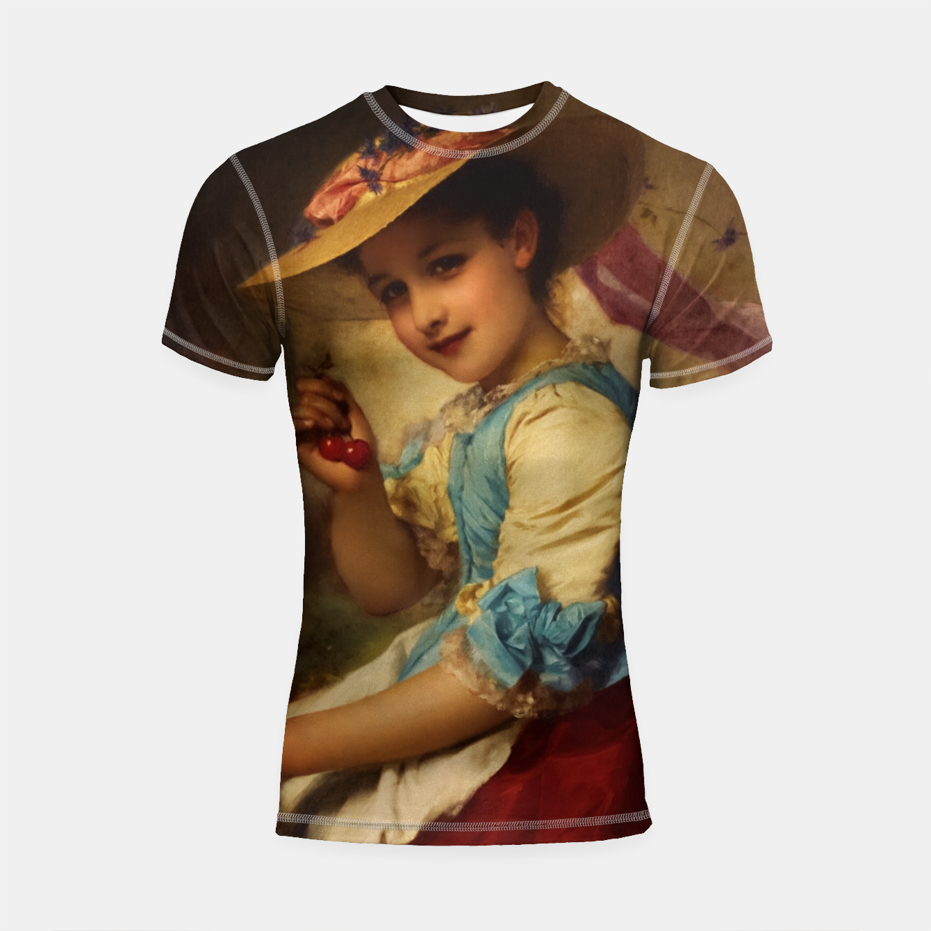Image of The Cherry Girl by Adolphe Piot Classical Art Reproduction Shortsleeve rashguard - Live Heroes