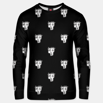 Thumbnail image of Man Head Caricature Drawing Pattern Unisex sweater, Live Heroes