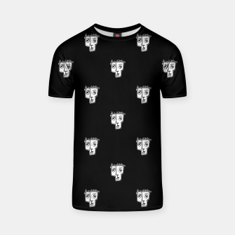Thumbnail image of Man Head Caricature Drawing Pattern T-shirt, Live Heroes