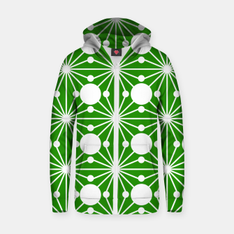 Miniatur Abstract geometric pattern - green and white. Zip up hoodie, Live Heroes