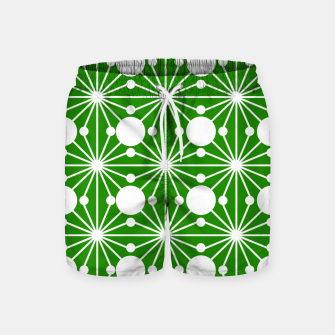 Miniatur Abstract geometric pattern - green and white. Swim Shorts, Live Heroes