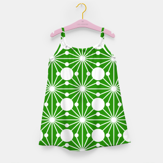 Miniatur Abstract geometric pattern - green and white. Girl's dress, Live Heroes