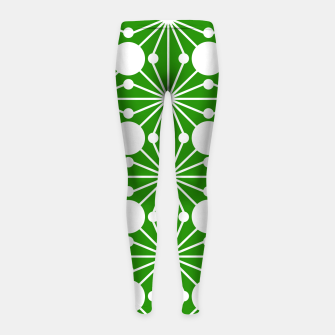 Miniatur Abstract geometric pattern - green and white. Girl's leggings, Live Heroes