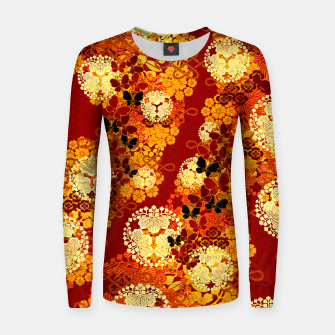 Thumbnail image of Japanese traditional family crest art Flower and Butterfly RED Women sweater, Live Heroes