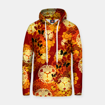 Thumbnail image of Japanese traditional family crest art Flower and Butterfly RED Hoodie, Live Heroes
