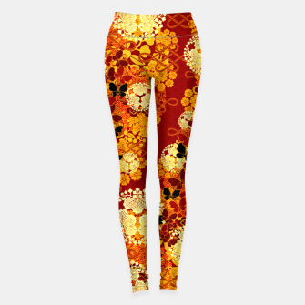 Thumbnail image of Japanese traditional family crest art Flower and Butterfly RED Leggings, Live Heroes