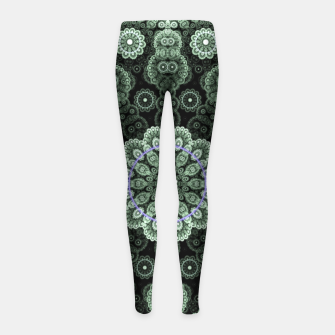 Green Fractal Lace Mandala Circle Pattern Leggings para niña thumbnail image