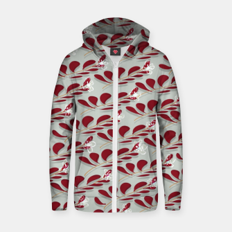 Red Leafs white flowers  Sudadera con capucha y cremallera  thumbnail image