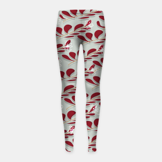 Thumbnail image of Red Leafs white flowers  Leggings para niña, Live Heroes