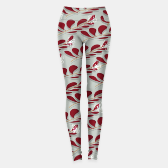 Red Leafs white flowers  Leggings thumbnail image