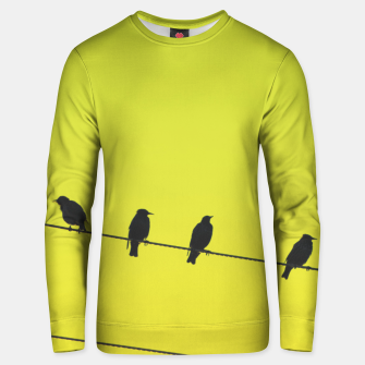 Four birds on a wire Unisex sweater Bild der Miniatur