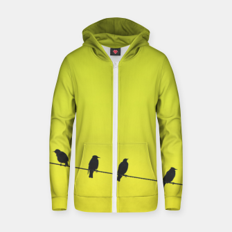 Four birds on a wire Zip up hoodie Bild der Miniatur
