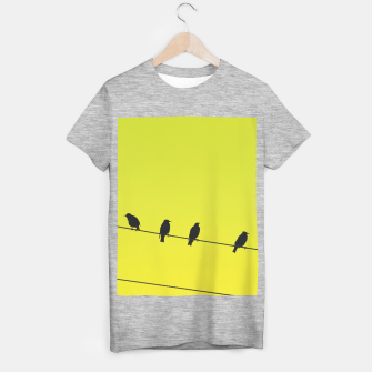 Four birds on a wire T-shirt regular Bild der Miniatur