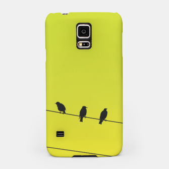 Four birds on a wire Samsung Case Bild der Miniatur