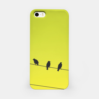 Four birds on a wire iPhone Case Bild der Miniatur