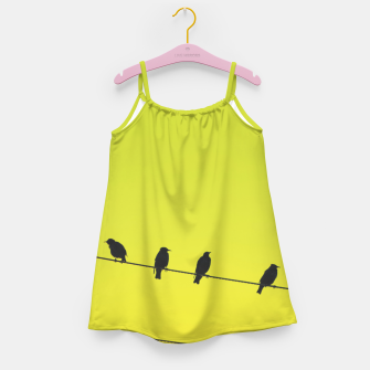 Four birds on a wire Girl's dress Bild der Miniatur