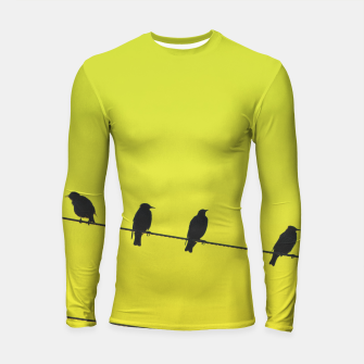 Four birds on a wire Longsleeve rashguard  Bild der Miniatur