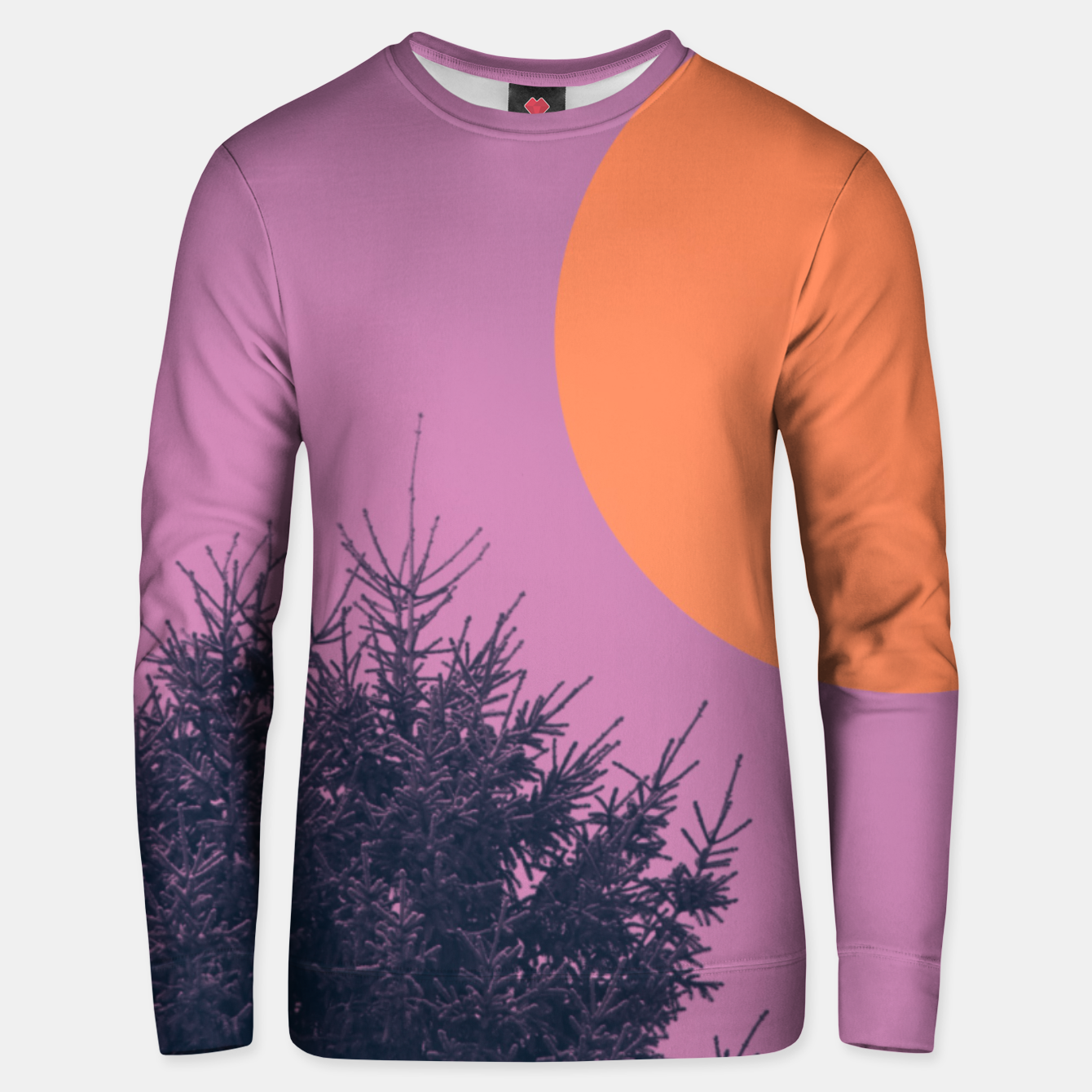 Foto Snowy pine tree and colorful background Unisex sweater - Live Heroes