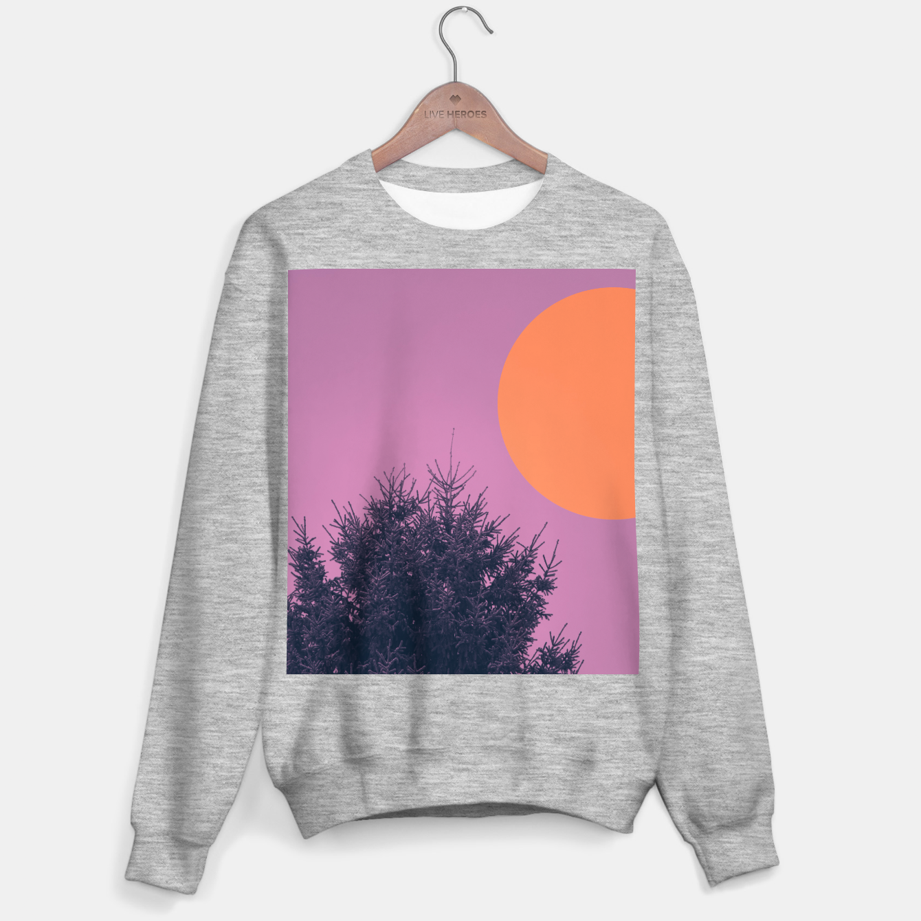 Foto Snowy pine tree and colorful background Sweater regular - Live Heroes