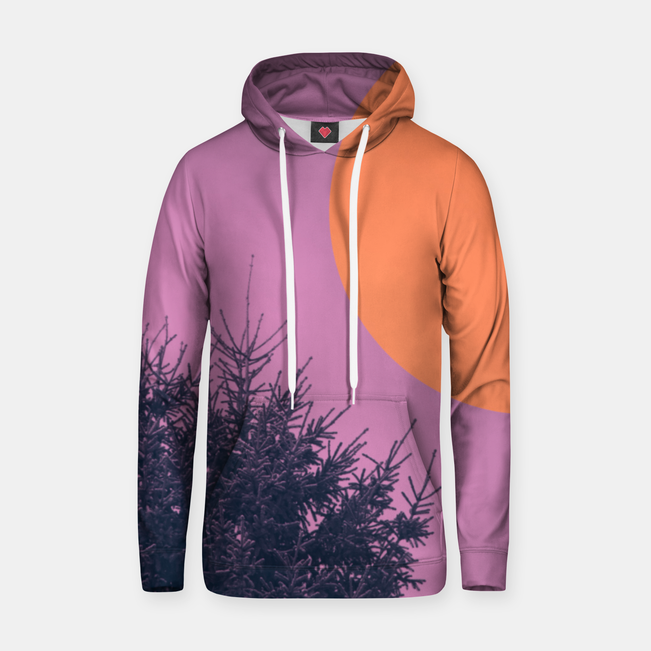 Foto Snowy pine tree and colorful background Hoodie - Live Heroes