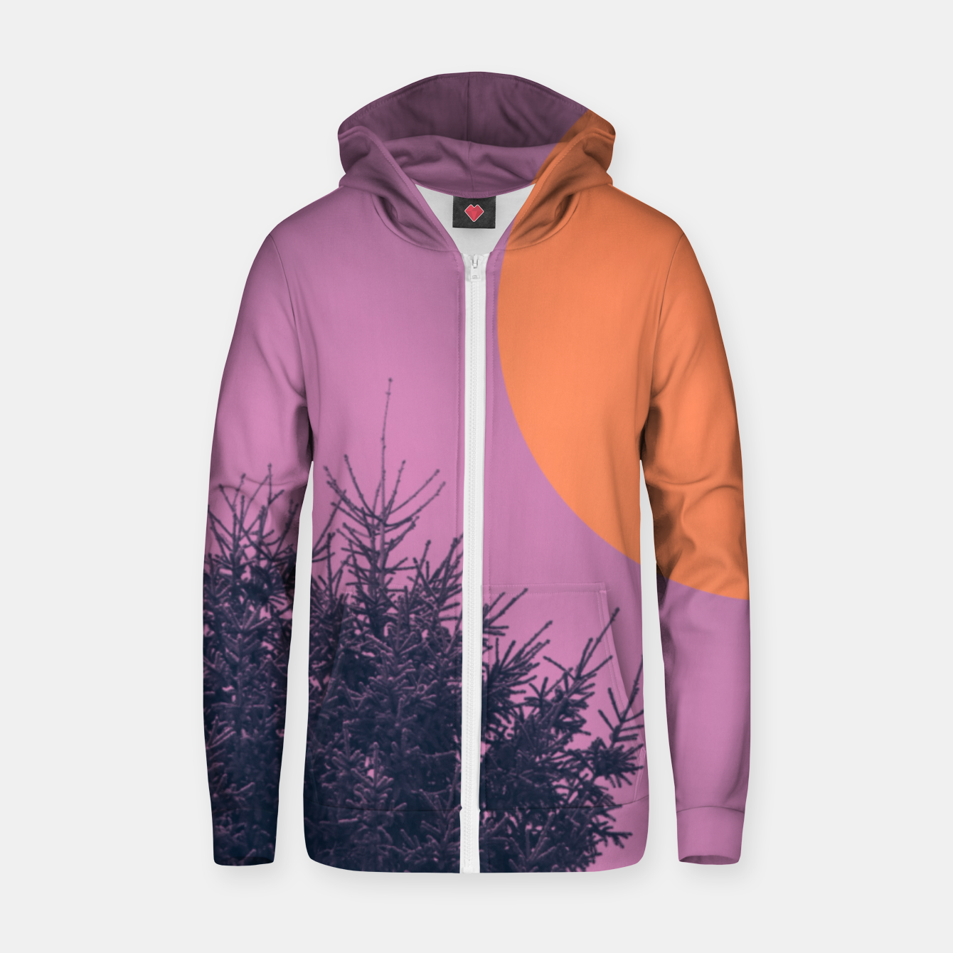 Foto Snowy pine tree and colorful background Zip up hoodie - Live Heroes