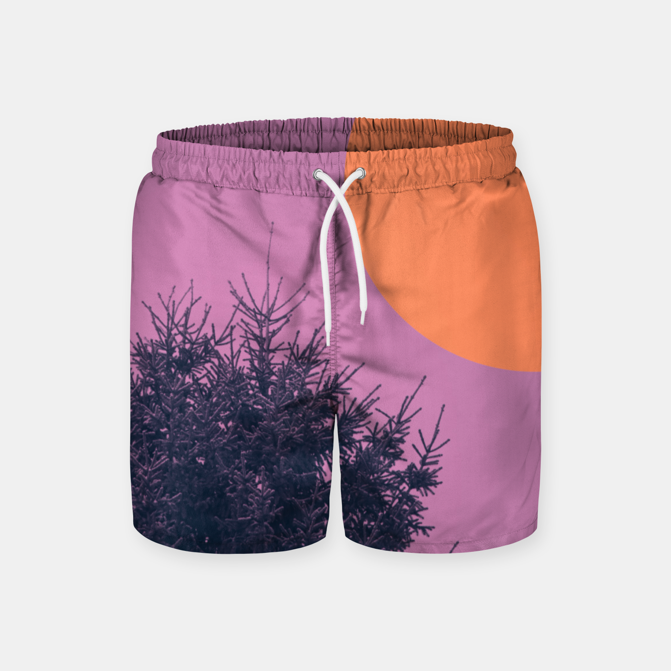 Foto Snowy pine tree and colorful background Swim Shorts - Live Heroes