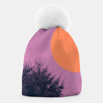 Miniatur Snowy pine tree and colorful background Beanie, Live Heroes