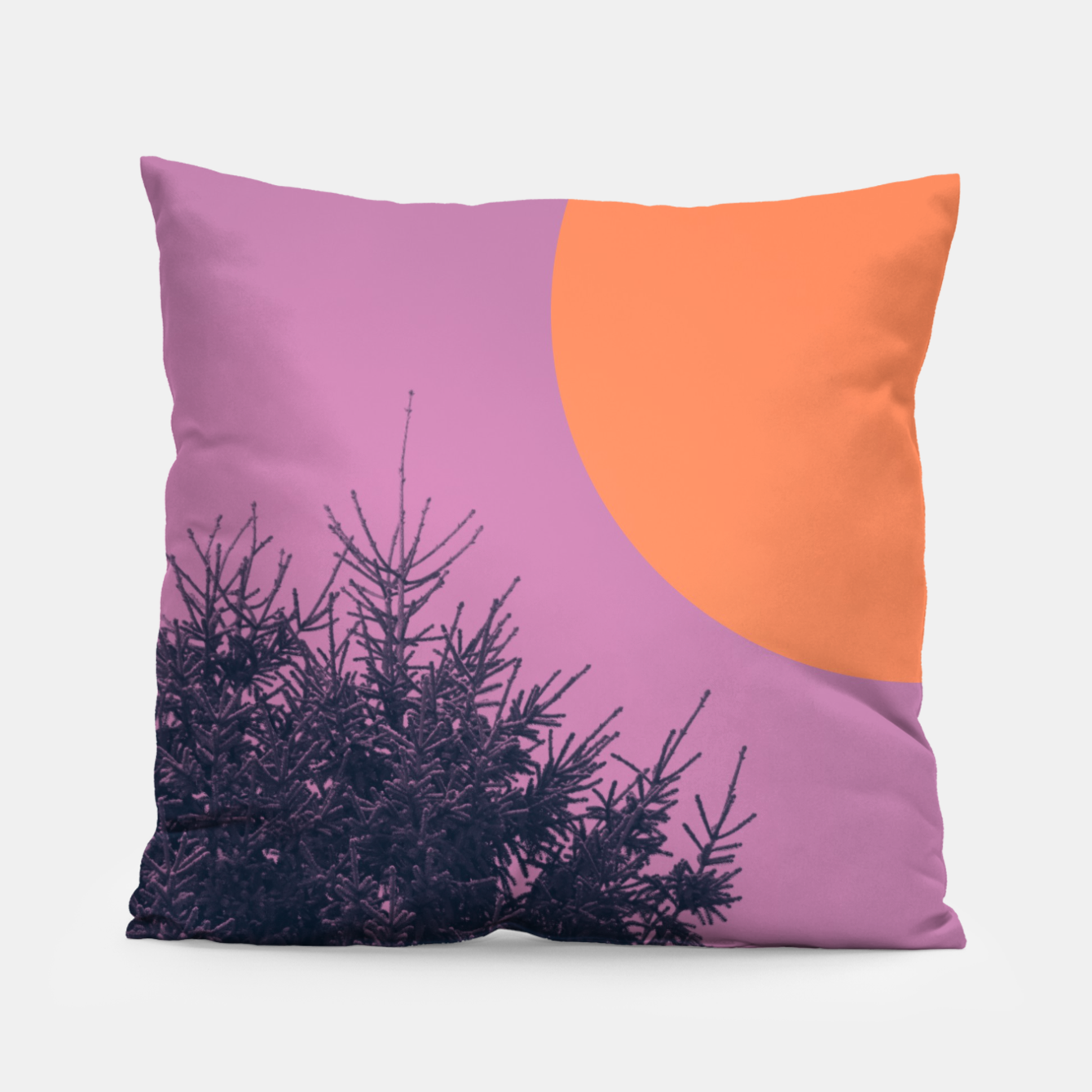 Foto Snowy pine tree and colorful background Pillow - Live Heroes