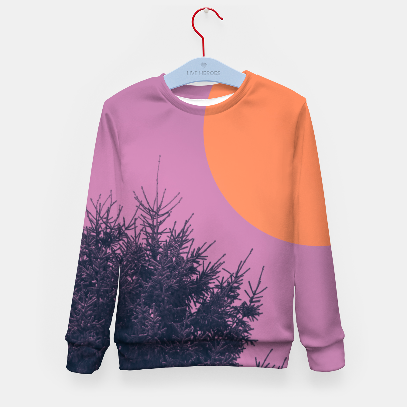 Foto Snowy pine tree and colorful background Kid's sweater - Live Heroes