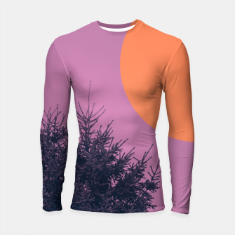 Miniatur Snowy pine tree and colorful background Longsleeve rashguard , Live Heroes
