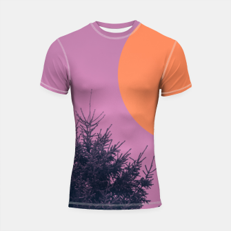 Miniatur Snowy pine tree and colorful background Shortsleeve rashguard, Live Heroes