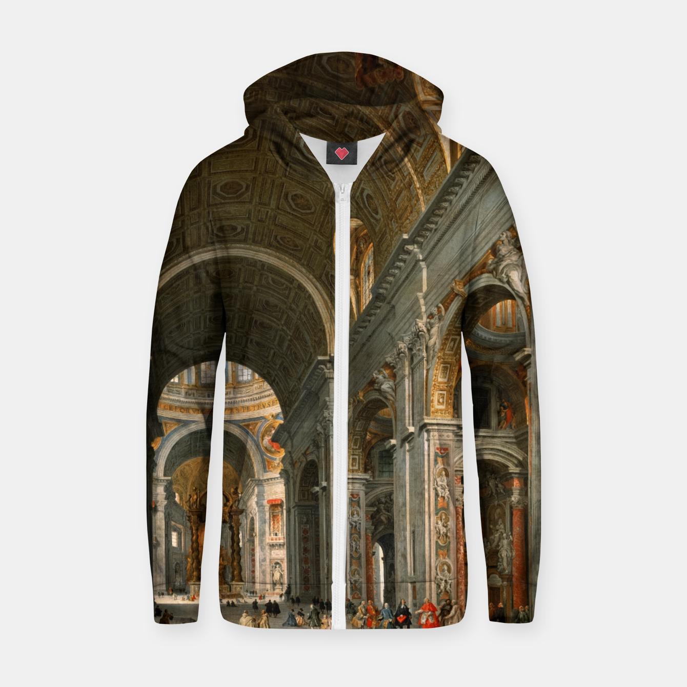 Image of Interior of St. Peter's, Rome byGiovanni Paolo Panini Zip up hoodie - Live Heroes